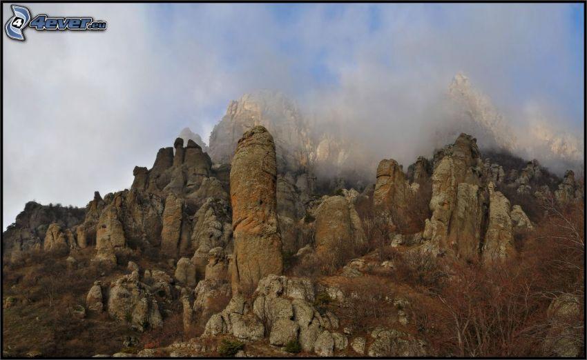 klippiga berg, dimma