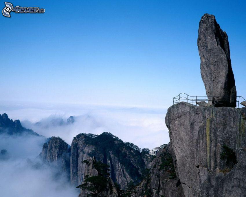klippiga berg, klippa, utsikt, terrass