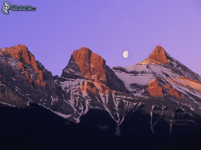klippiga berg, måne