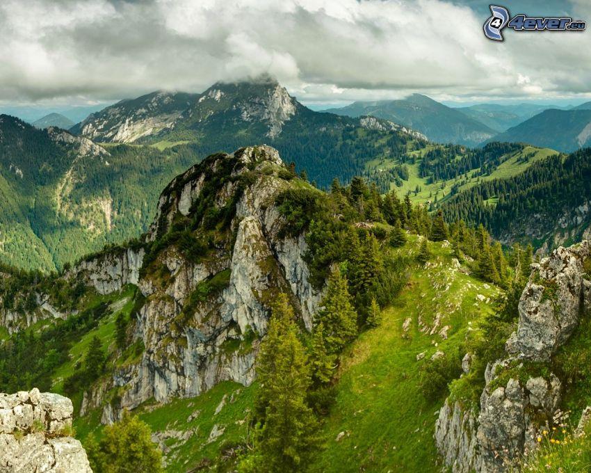 klippiga berg, utsikt, grönska