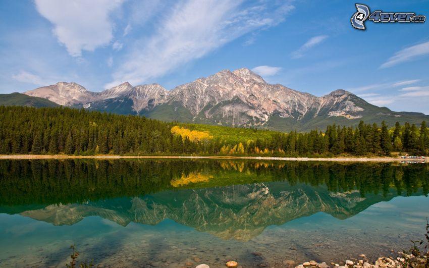 klippigt berg, sjö, skog, spegling