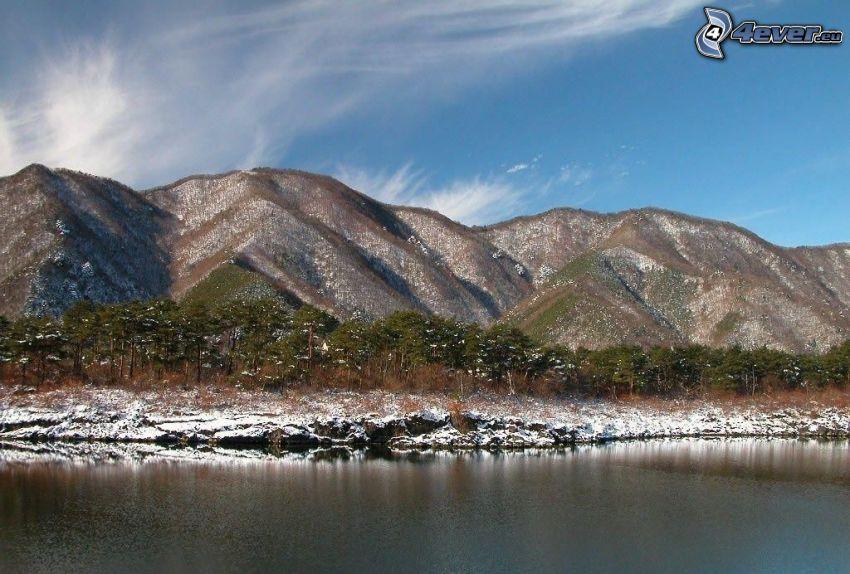 kullar, snö, sjö