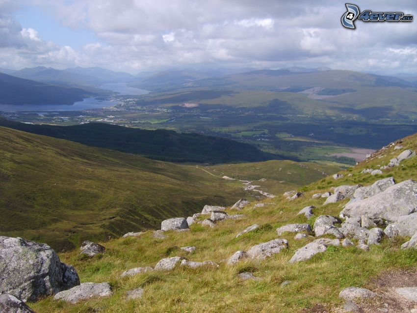 kullar, utsikt över landskap, klippor
