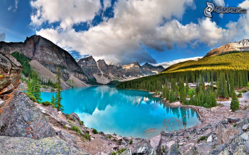 Moraine Lake, tjärn, azurblå sjö, klippiga berg, skog