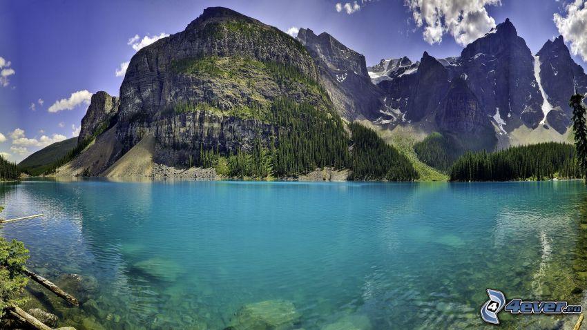Moraine Lake, tjärn, azurblå sjö, klippiga berg