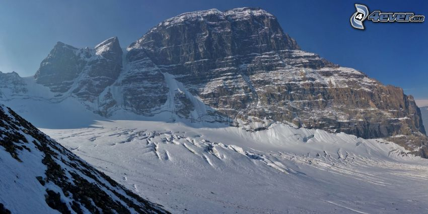 Mount Athabasca, stenig backe, snö