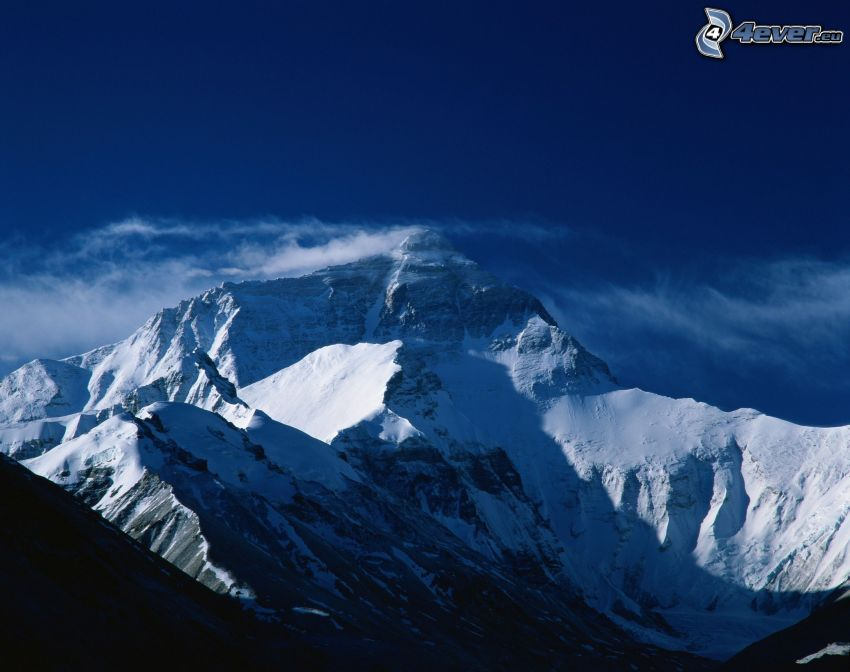 Mount Everest, snöigt berg