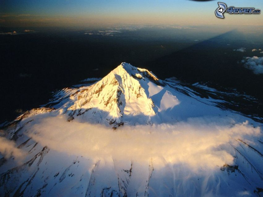 Mount Hood, Oregon, snö, moln