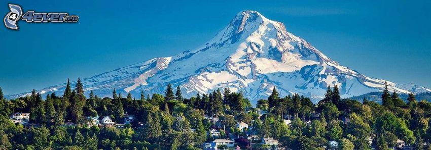 Mount Hood, snöigt berg, stugor