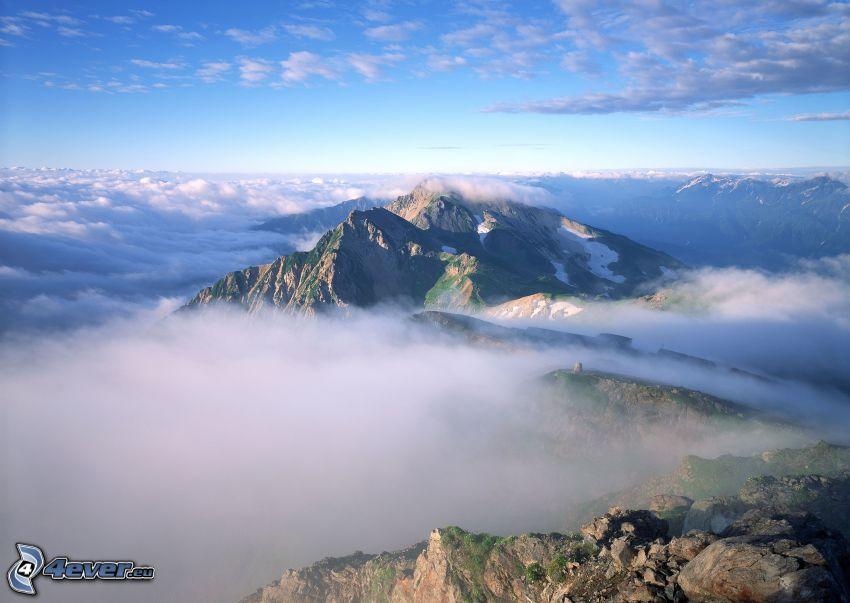 Mount Huang, Huangshan, Kina, kulle i dimman, moln
