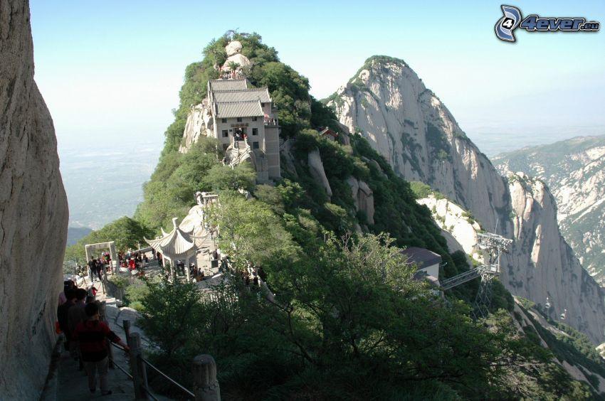 Mount Huang, hus, trottoar, klippiga berg