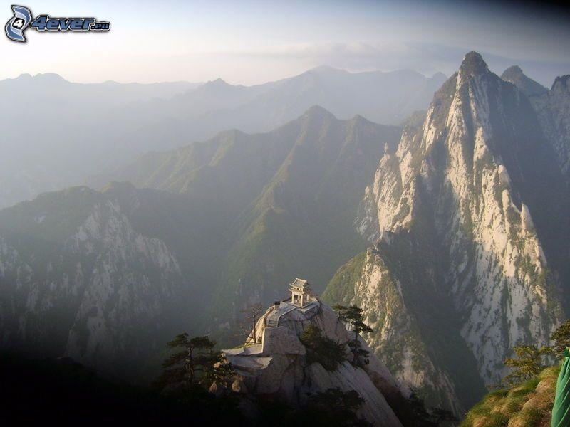 Mount Huang, klippiga berg, utsikt