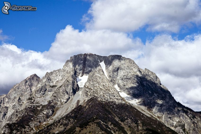 Mount Moran, Wyoming, klippigt berg, moln