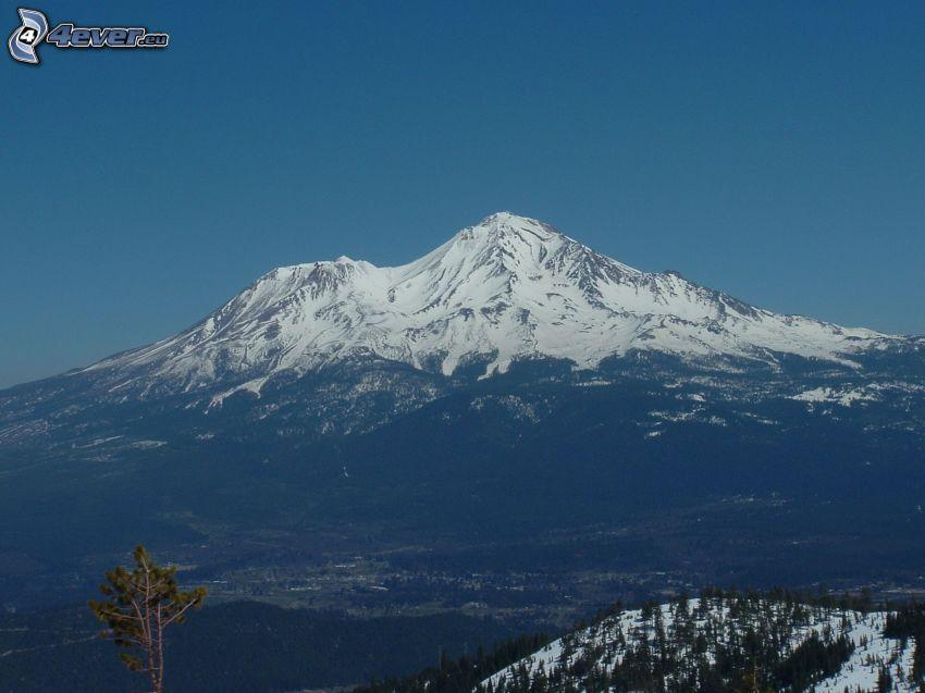 Mount Shasta, snöigt berg
