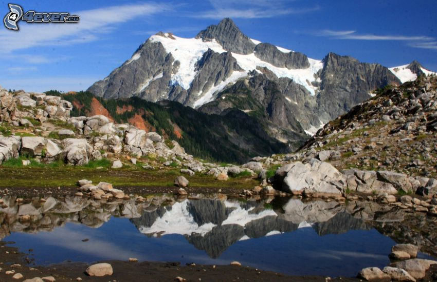 Mount Shuksan, klippigt berg, sjö