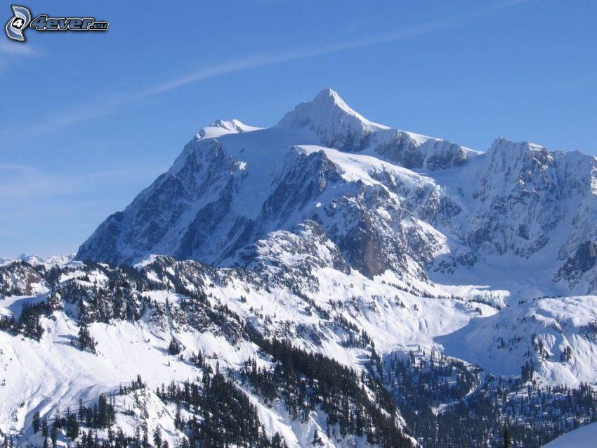Mount Shuksan, snöigt berg