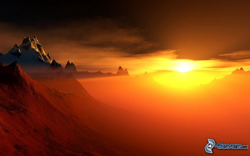 orange solnedgång, bergskedja, kullar