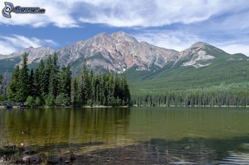 Pyramid Mountain, klippigt berg, barrskog, tjärn