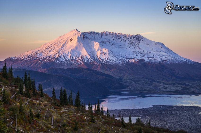 Saint Helens, vulkan, snöigt berg