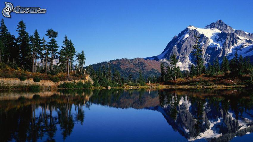 sjö, snöigt berg, barrträd, spegling