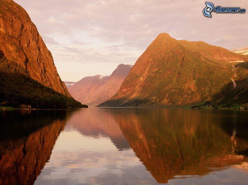 skandinavien, flod, berg