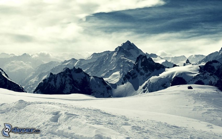 snöiga kullar, himmel