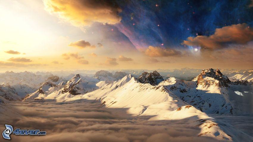 snöklädda berg, himmel