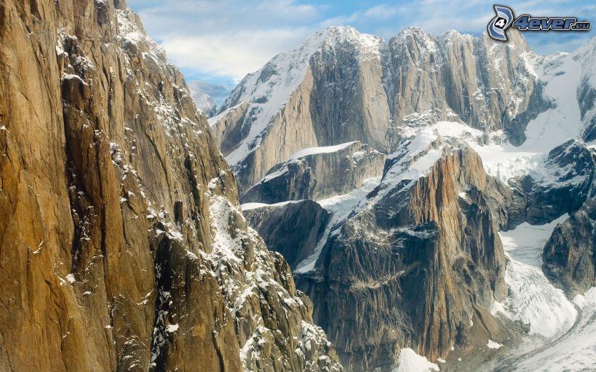 snöklädda berg, klippor