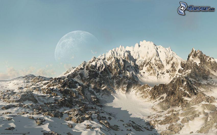 snöklädda berg, måne