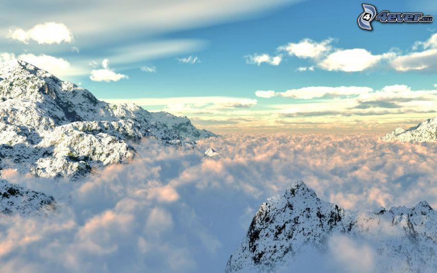 snöklädda berg, moln