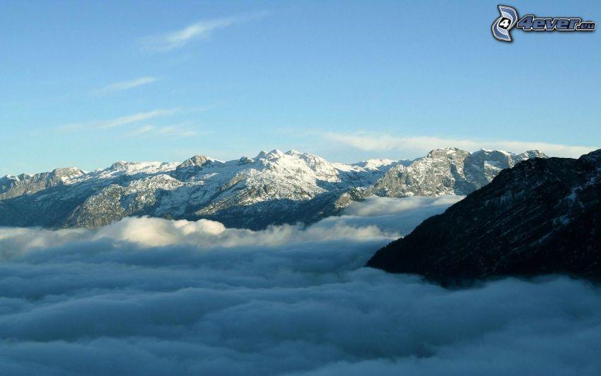 snöklädda berg, ovanför molnen