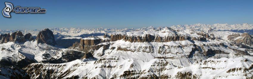 snöklädda berg, snö, panorama