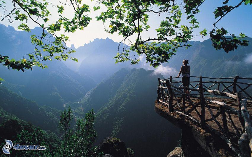 utsikt över berg, trästaket, kvinna