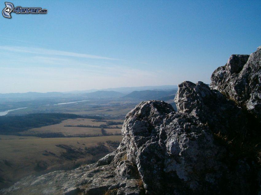 utsikt över landskap, klippor, flod