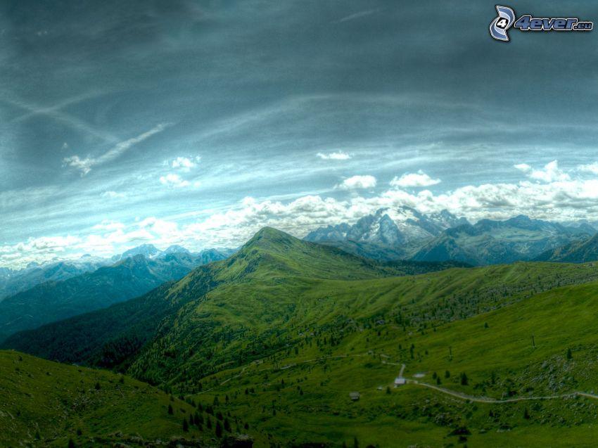 utsikt över landskap, kullar, grönska