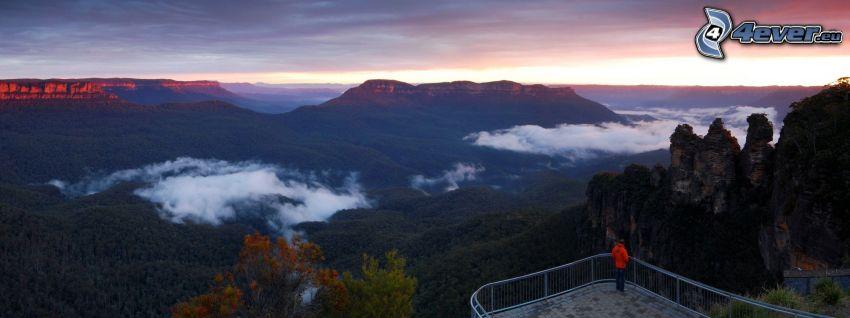 utsikt över landskap, kullar, solnedgång, människa, moln