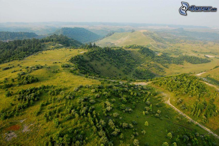 utsikt över landskap, kullar