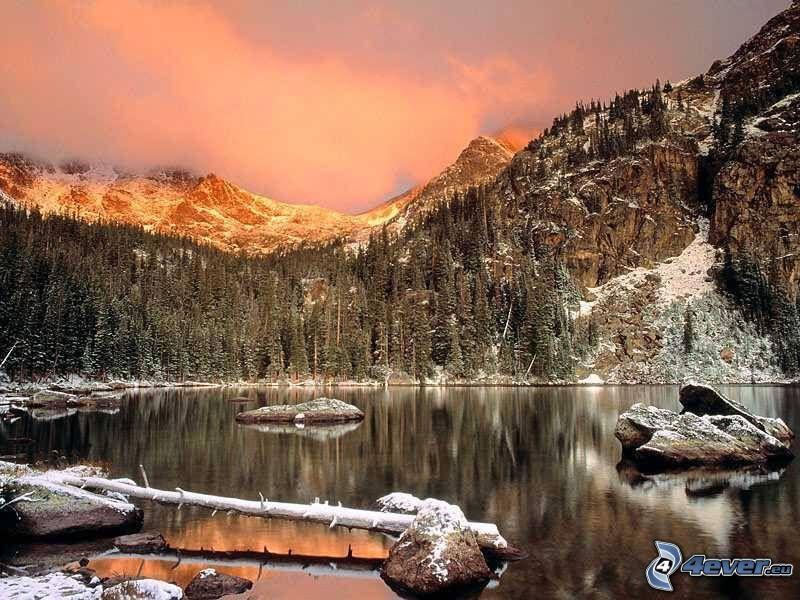 vinterlandskap, sjö i skogen, snö, frost