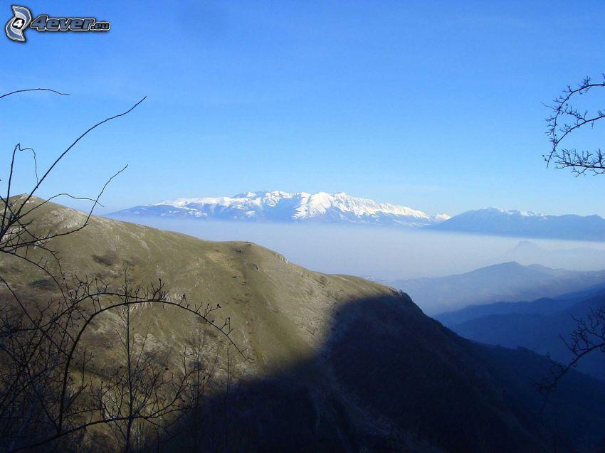 bergskedja, dimma, snöigt berg, skugga