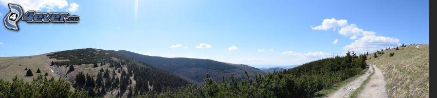 bergskedja, väg, panorama