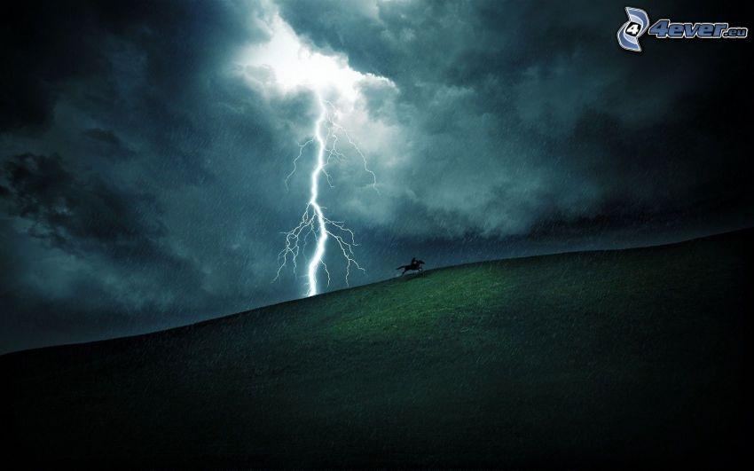 blixt, storm, kulle, mörka moln