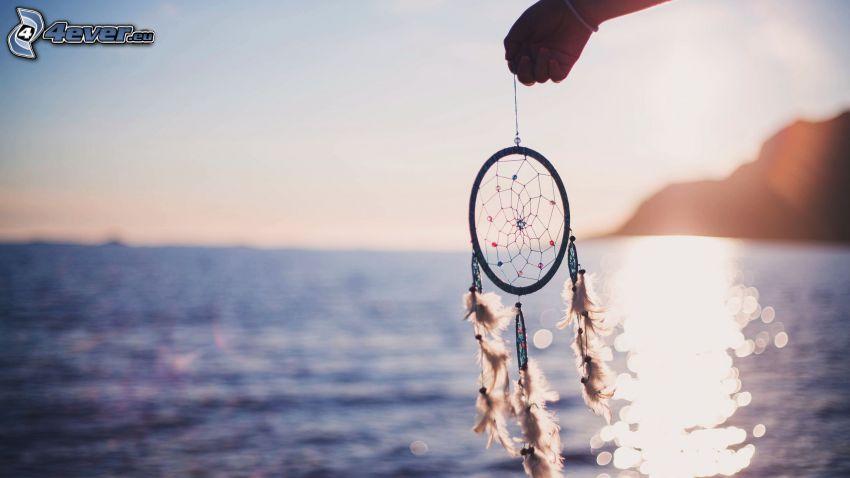 drömfångare, hav, reflektion av solen