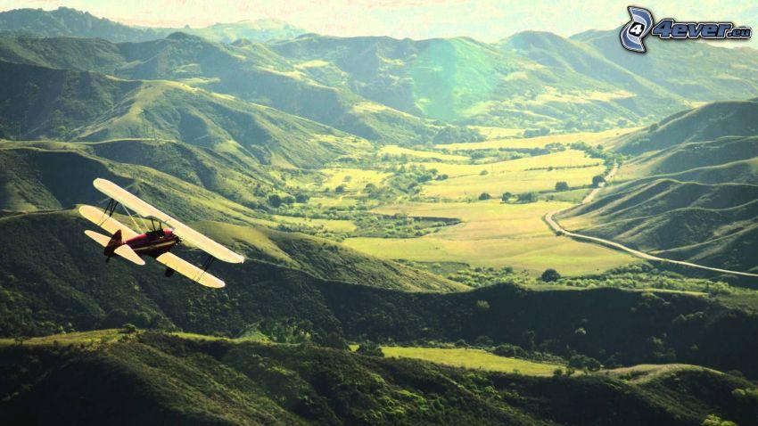 dubbelvingat flygplan, dal, berg