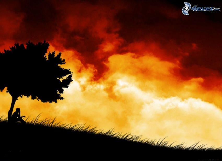 ensamt träd, siluett av ett träd, silhuett av man, moln