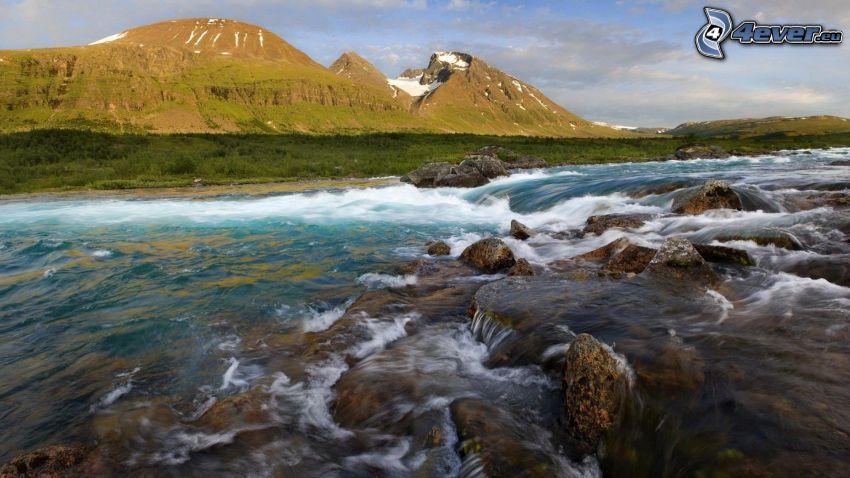 flod, bergskedja, flodstenar