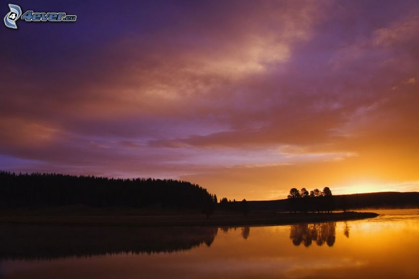 flod, efter solnedgången, lila himmel