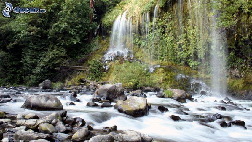 flod, flodstenar, vattenfall
