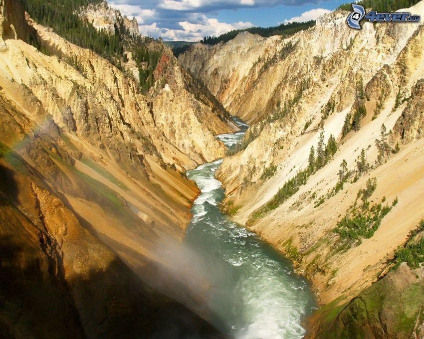 flod, klippor, dal