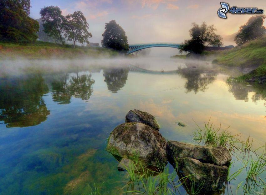 flod, klippor, markdimma, bro