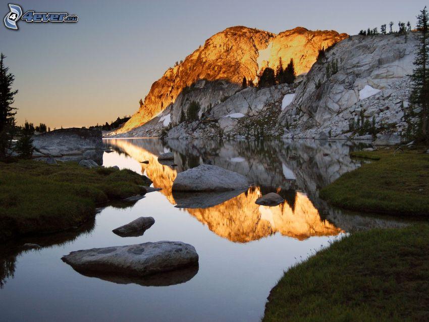 flod, klippor, solnedgång